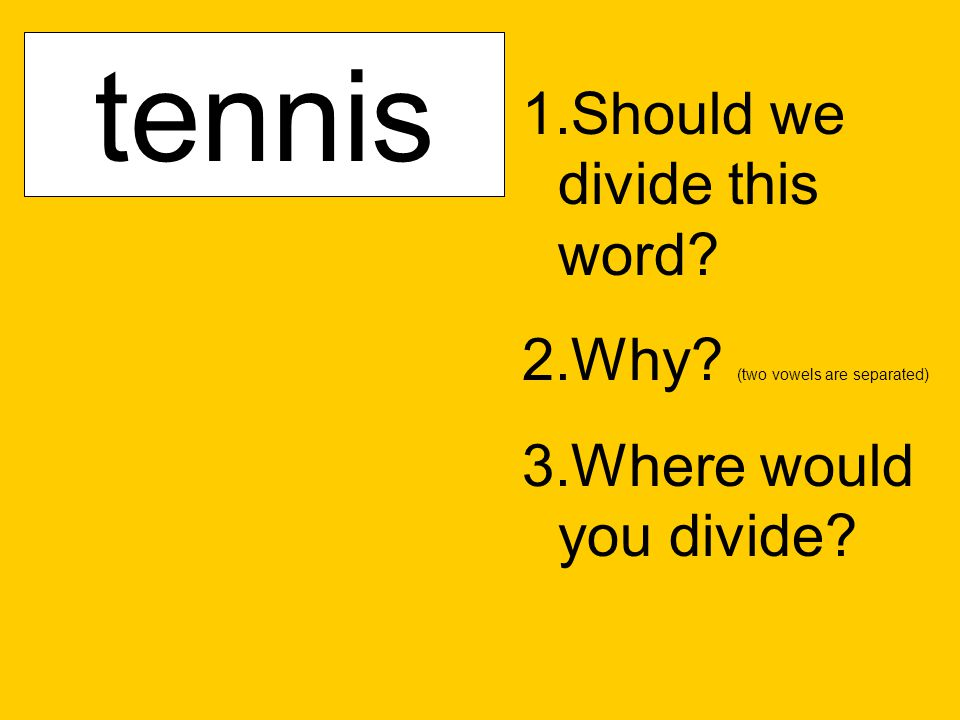sunfish 1.Should we divide this word? 2.Why? (two vowels are separated) 3.Where would you divide? catnipcactustennis