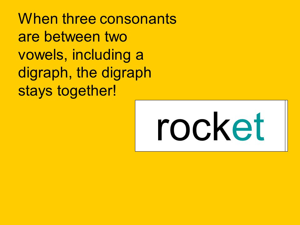 When three consonants are between two vowels, including a digraph, the digraph stays together! bathtubnutshellrocket