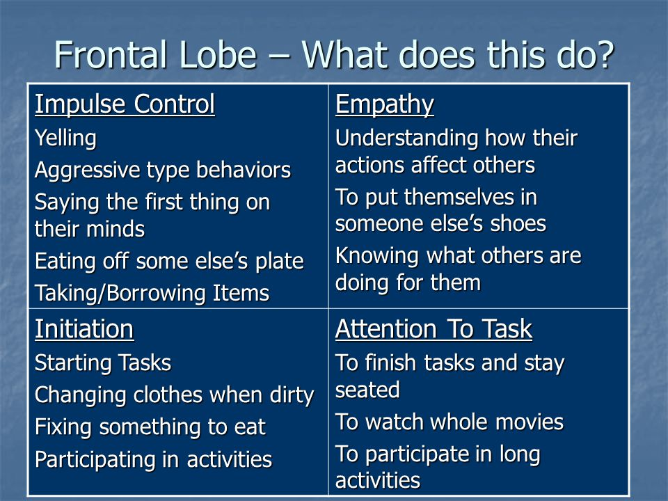 Frontal Lobe – What does this do.