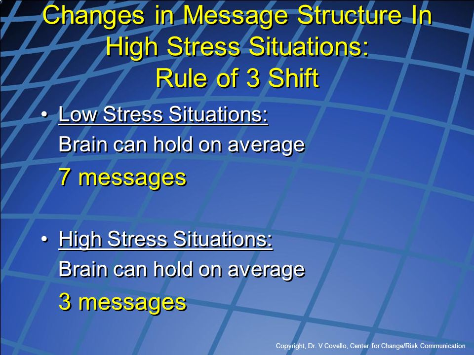 Copyright, Dr. V Covello, Center for Change/Risk Communication Changes in Message Structure In High Stress Situations: Rule of 3 Shift Low Stress Situ