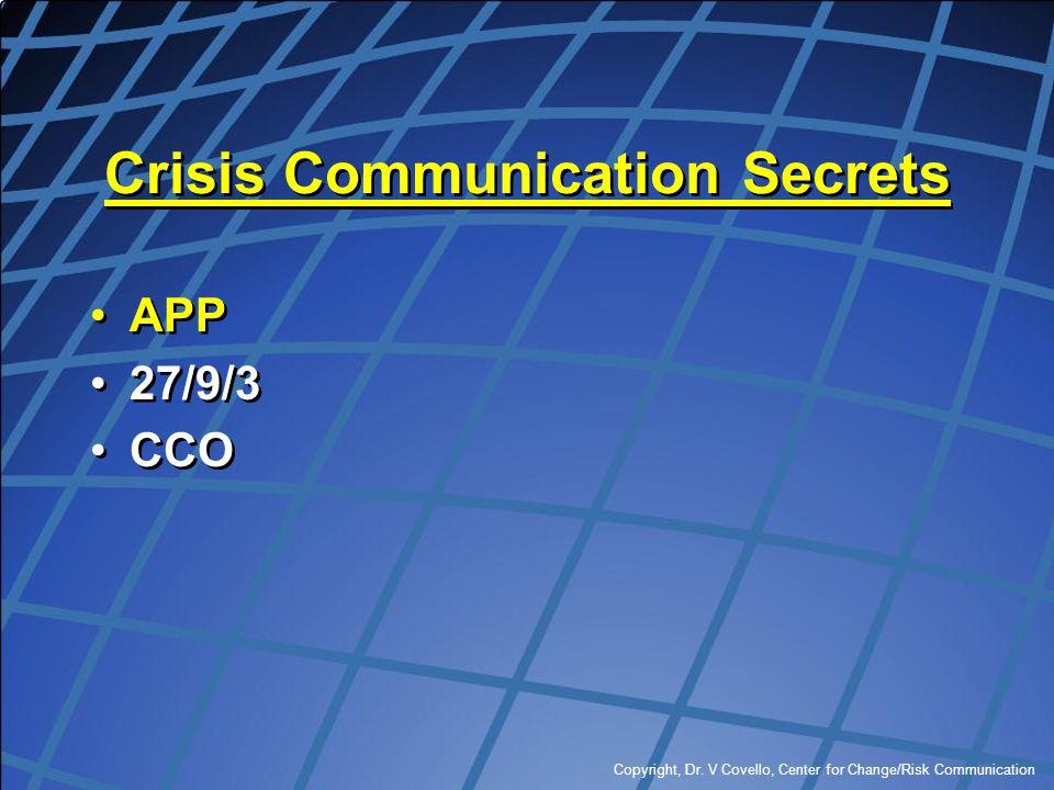 Copyright, Dr. V Covello, Center for Change/Risk Communication Crisis Communication Secrets APP 27/9/3 CCO APP 27/9/3 CCO