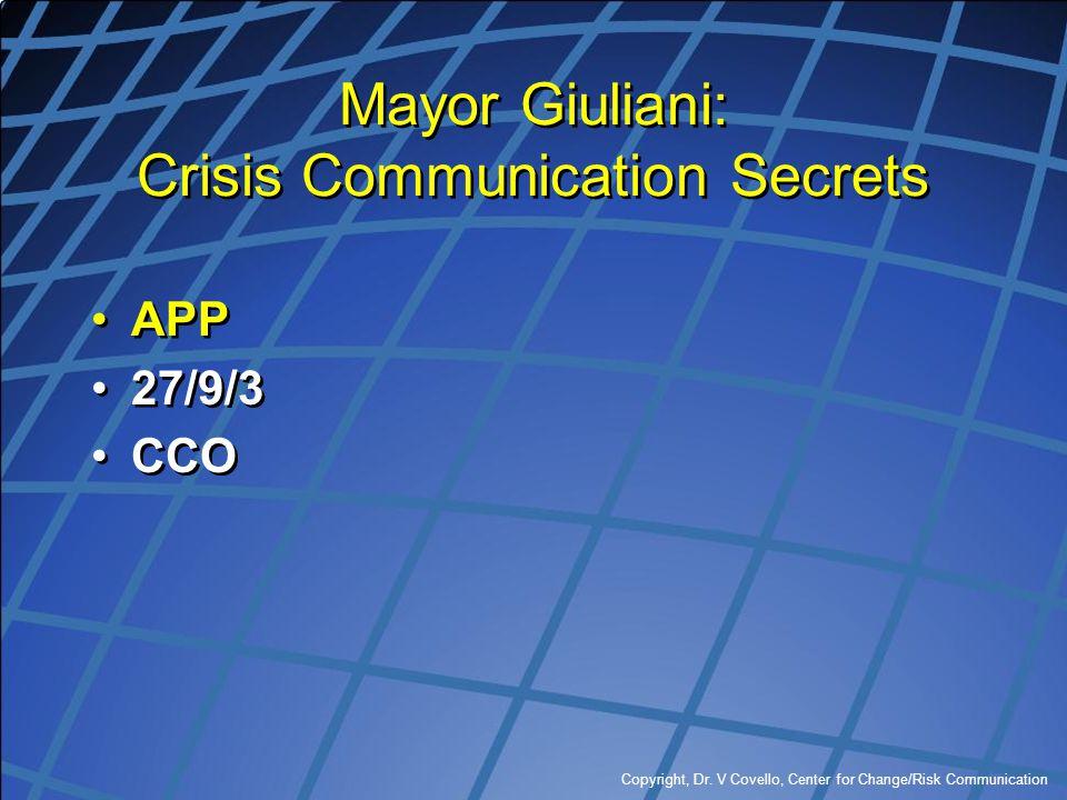 Copyright, Dr. V Covello, Center for Change/Risk Communication Mayor Giuliani: Crisis Communication Secrets APP 27/9/3 CCO APP 27/9/3 CCO