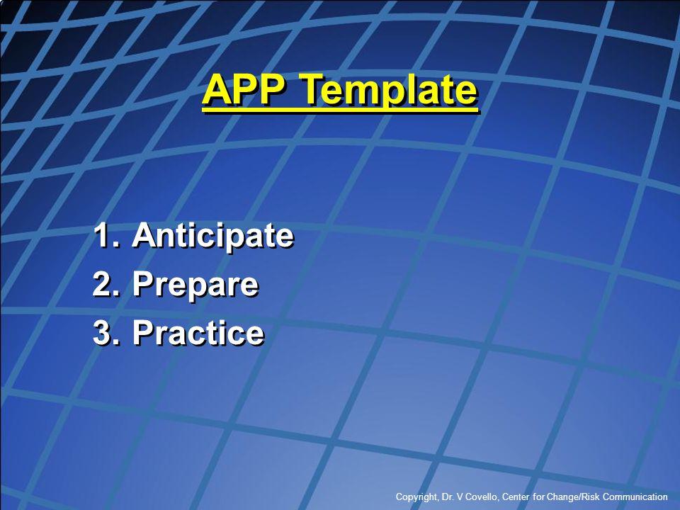 Copyright, Dr. V Covello, Center for Change/Risk Communication APP Template 1.Anticipate 2.Prepare 3.Practice 1.Anticipate 2.Prepare 3.Practice