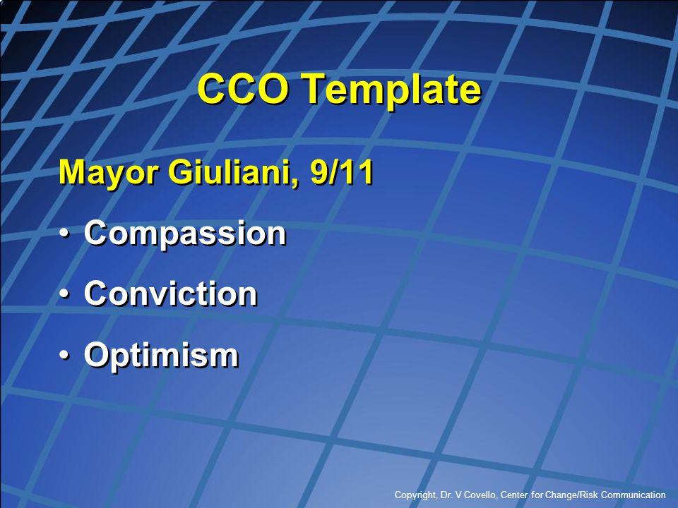 Copyright, Dr. V Covello, Center for Change/Risk Communication CCO Template Mayor Giuliani, 9/11 Compassion Conviction Optimism Mayor Giuliani, 9/11 C