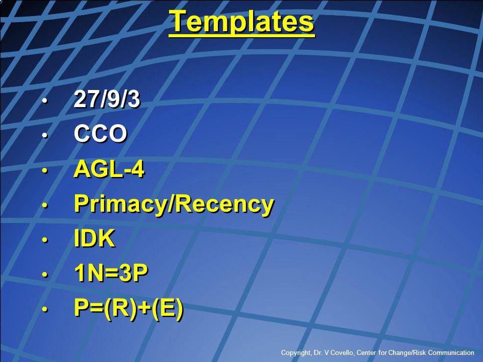 Copyright, Dr. V Covello, Center for Change/Risk Communication Templates 27/9/3 CCO AGL-4 Primacy/Recency IDK 1N=3P P=(R)+(E) 27/9/3 CCO AGL-4 Primacy