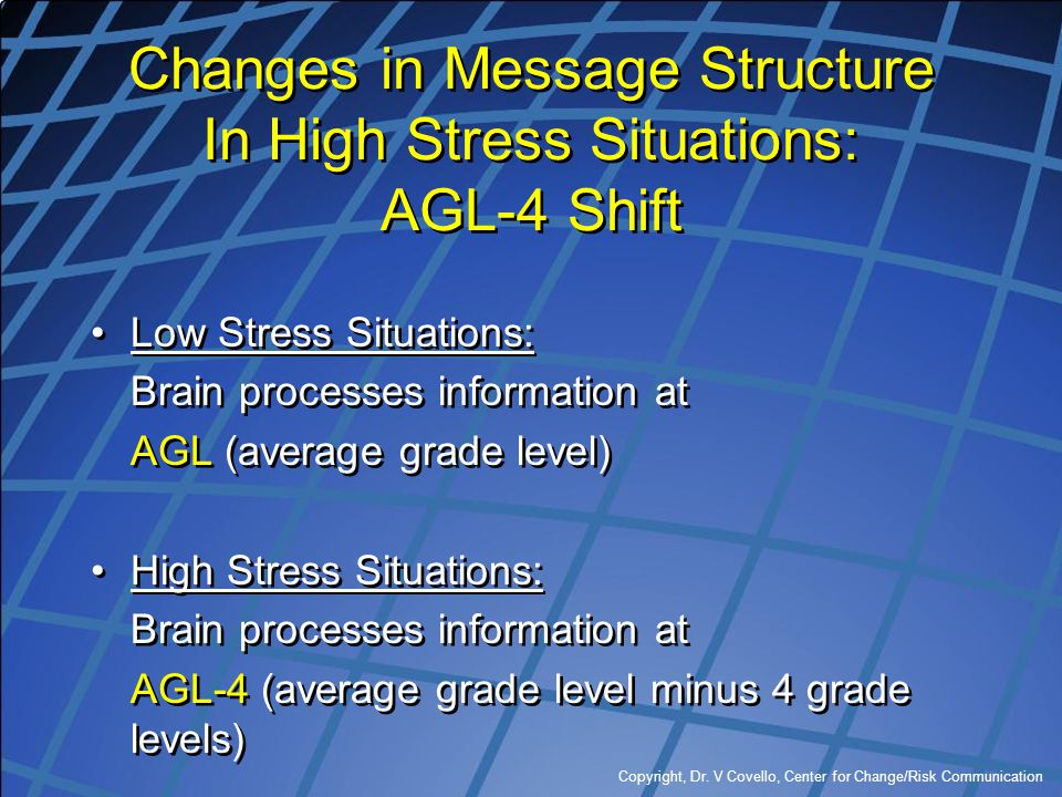 Copyright, Dr. V Covello, Center for Change/Risk Communication Changes in Message Structure In High Stress Situations: AGL-4 Shift Low Stress Situatio