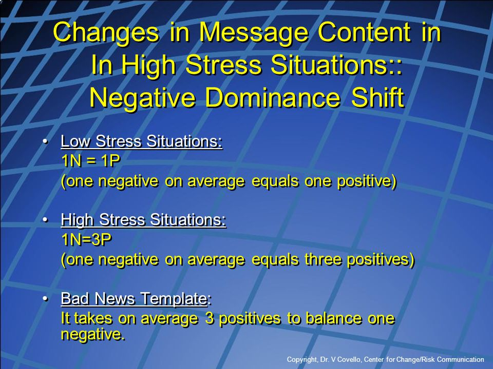 Copyright, Dr. V Covello, Center for Change/Risk Communication Changes in Message Content in In High Stress Situations:: Negative Dominance Shift Low