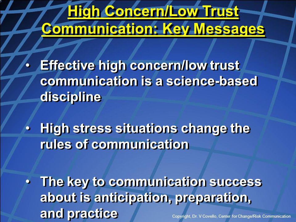 Copyright, Dr. V Covello, Center for Change/Risk Communication Effective high concern/low trust communication is a science-based discipline High stres