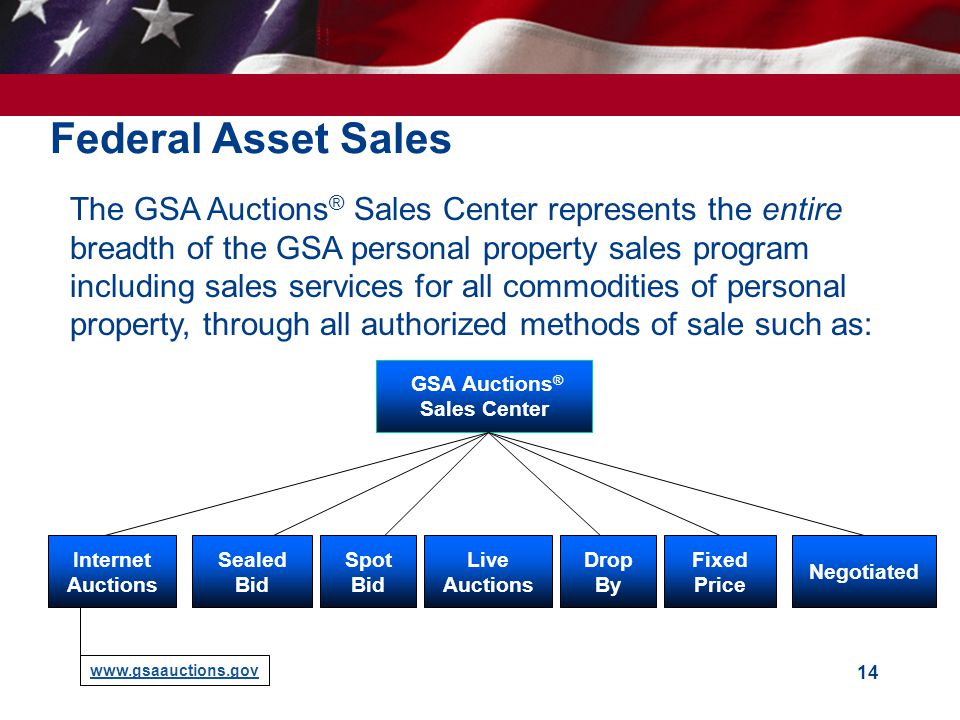 14 Federal Asset Sales  The GSA Auctions ® Sales Center represents the entire breadth of the GSA personal property sales program including sales services for all commodities of personal property, through all authorized methods of sale such as: GSA Auctions ® Sales Center Internet Auctions www.gsaauctions.gov Negotiated Fixed Price Live Auctions Drop By Sealed Bid Spot Bid