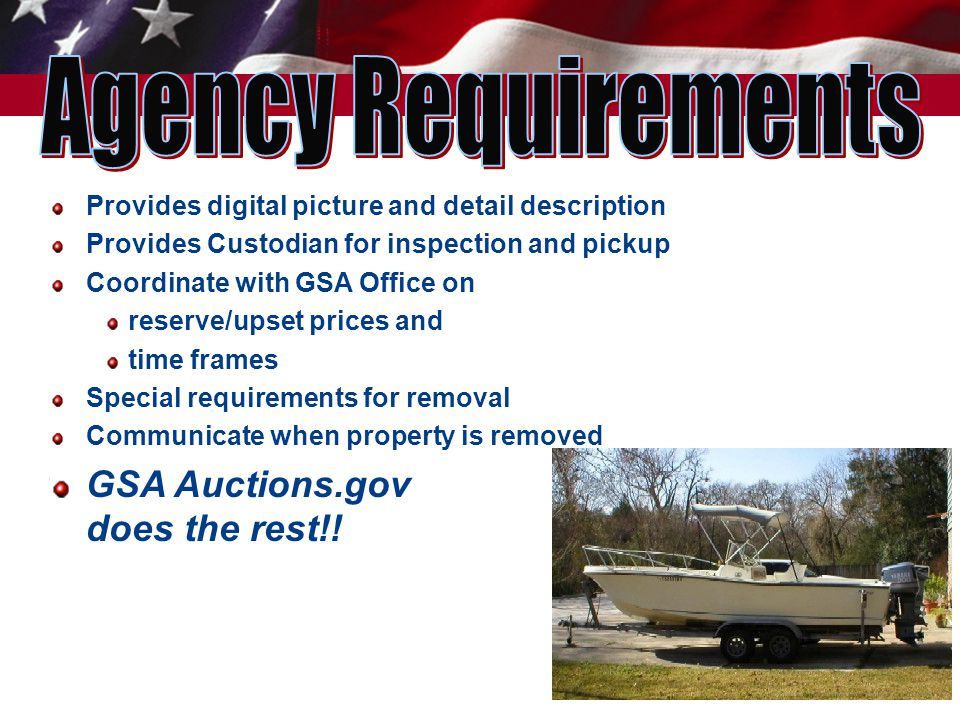 17 Provides digital picture and detail description Provides Custodian for inspection and pickup Coordinate with GSA Office on reserve/upset prices and time frames Special requirements for removal Communicate when property is removed GSA Auctions.gov does the rest!!
