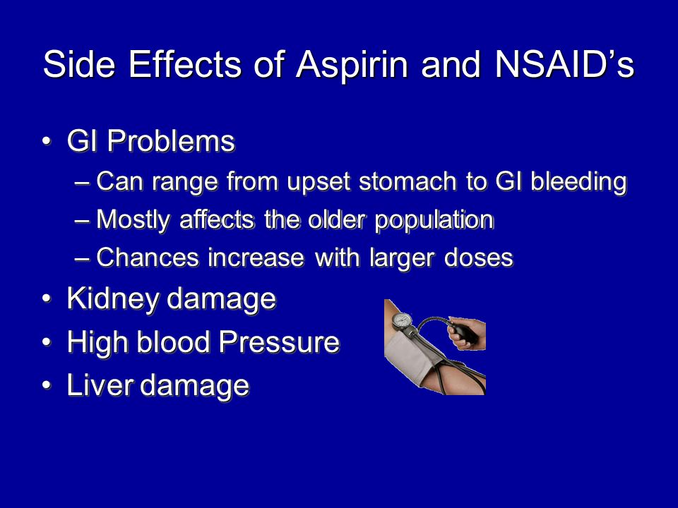 Side Effects of Aspirin and NSAID's GI ProblemsGI Problems –Can range from upset stomach to GI bleeding –Mostly affects the older population –Chances increase with larger doses Kidney damageKidney damage High blood PressureHigh blood Pressure Liver damageLiver damage GI ProblemsGI Problems –Can range from upset stomach to GI bleeding –Mostly affects the older population –Chances increase with larger doses Kidney damageKidney damage High blood PressureHigh blood Pressure Liver damageLiver damage