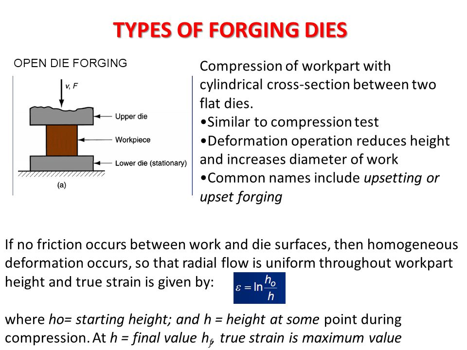 TYPES OF FORGING DIES OPEN DIE FORGING Compression of workpart with cylindrical cross-section between two flat dies. Similar to compression test Defor