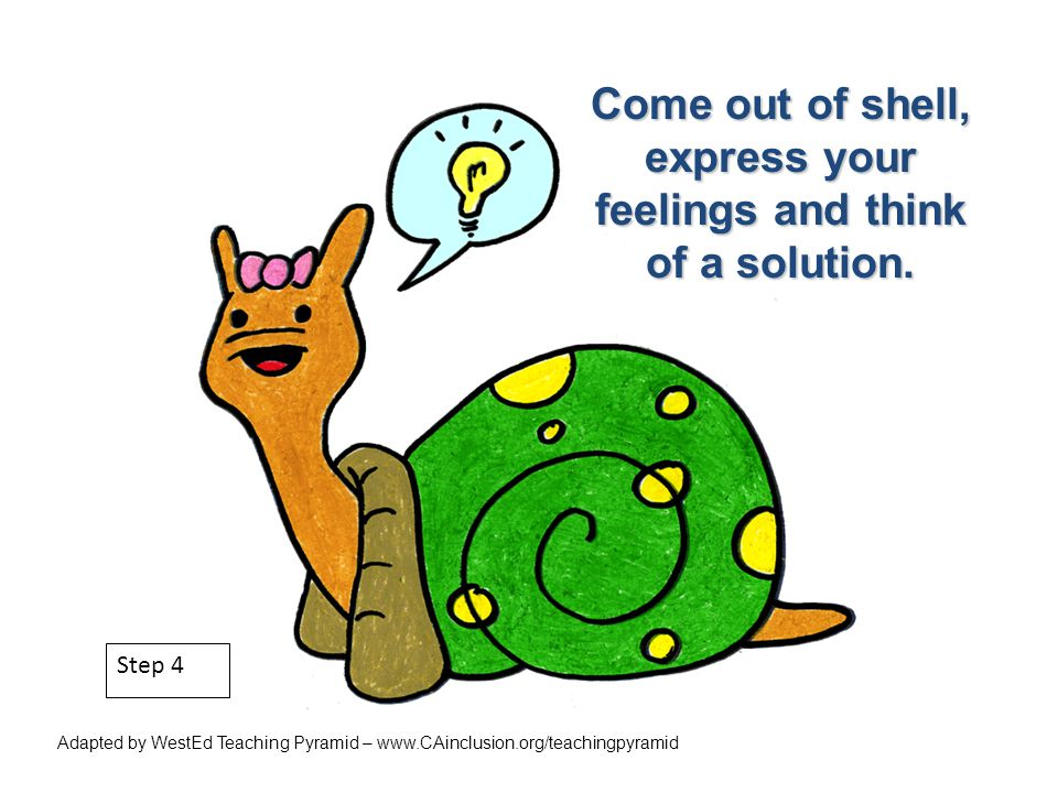 Step 4 Come out of shell, express your feelings and think of a solution. Adapted by WestEd Teaching Pyramid – www.CAinclusion.org/teachingpyramid