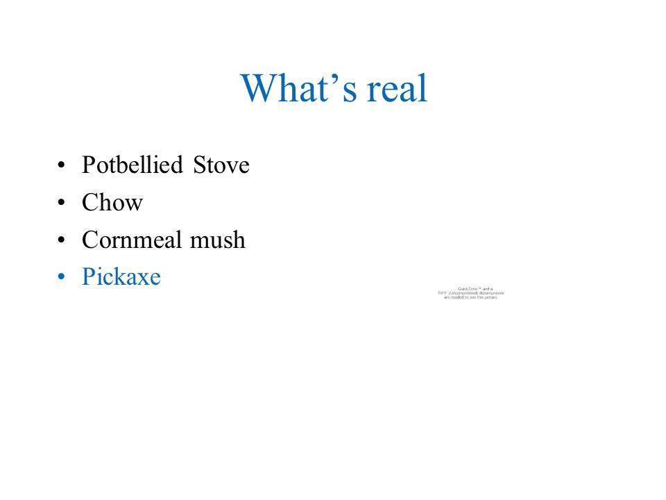 What's real Potbellied Stove Chow Cornmeal mush Pickaxe