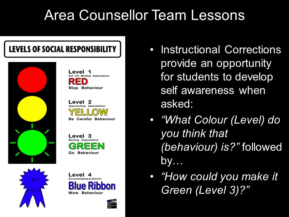 "Area Counsellor Team Lessons Instructional Corrections provide an opportunity for students to develop self awareness when asked: ""What Colour (Level)"