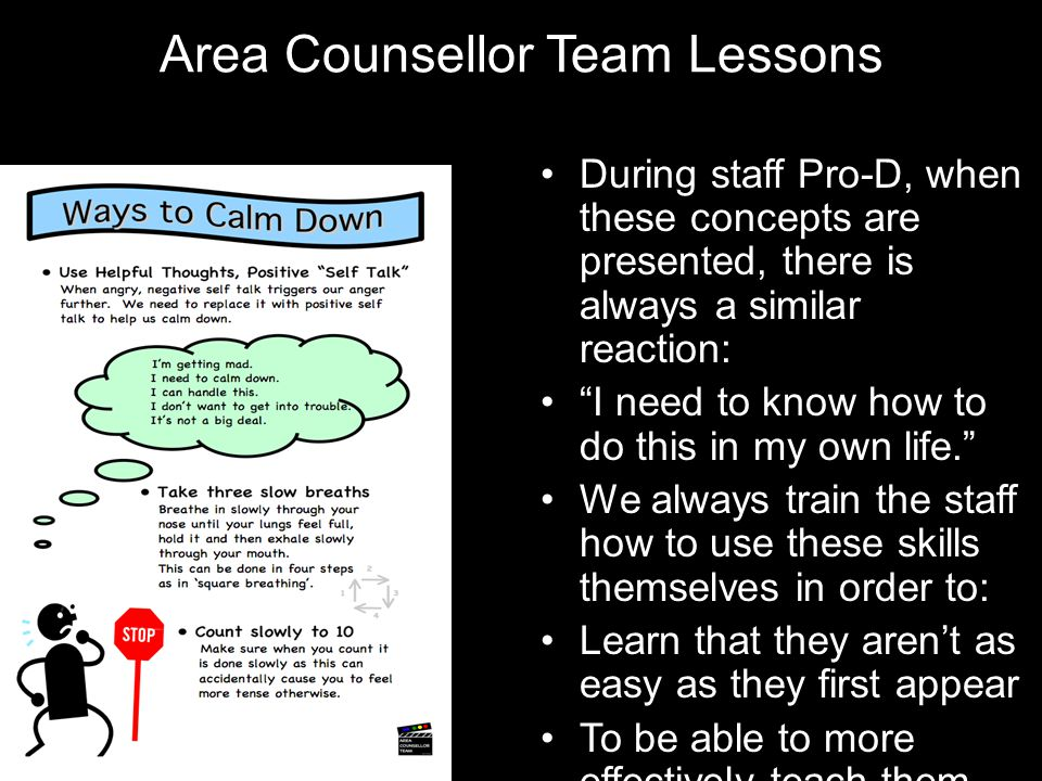 "Area Counsellor Team Lessons During staff Pro-D, when these concepts are presented, there is always a similar reaction: ""I need to know how to do this"