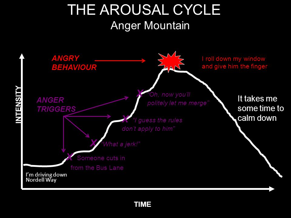 "THE AROUSAL CYCLE I'm driving down Nordell Way ANGER TRIGGERS X ""What a jerk!"" TIME INTENSITY Anger Mountain ANGRY BEHAVIOUR I roll down my window and"