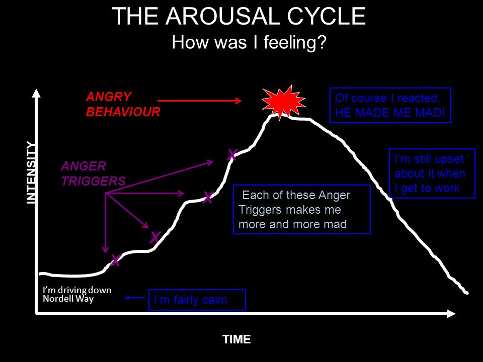 THE AROUSAL CYCLE I'm driving down Nordell Way ANGER TRIGGERS X TIME INTENSITY How was I feeling? ANGRY BEHAVIOUR Of course I reacted, HE MADE ME MAD!