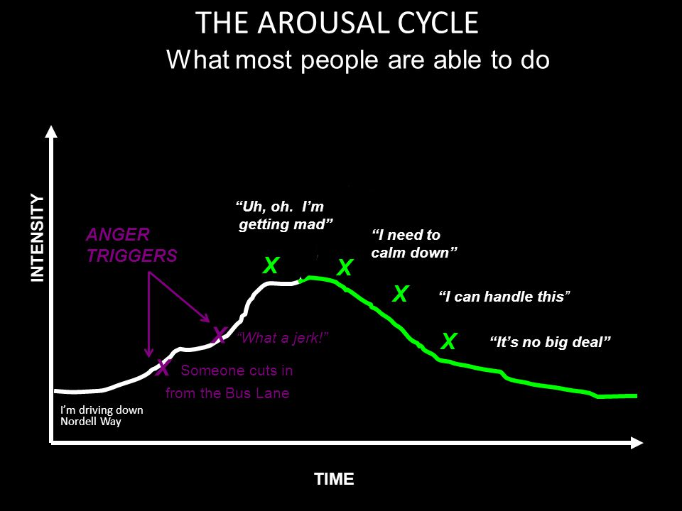 "THE AROUSAL CYCLE I'm driving down Nordell Way ANGER TRIGGERS TIME INTENSITY What most people are able to do X Someone cuts in from the Bus Lane X ""Wh"