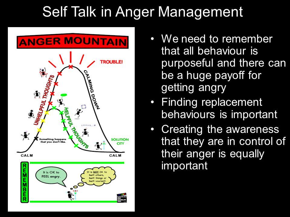 Self Talk in Anger Management We need to remember that all behaviour is purposeful and there can be a huge payoff for getting angry Finding replacemen