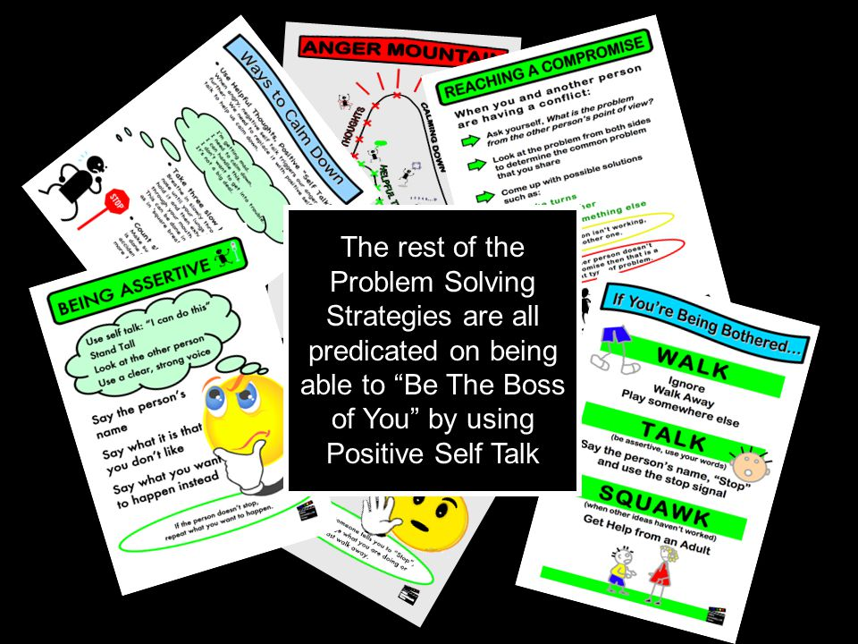 "The rest of the Problem Solving Strategies are all predicated on being able to ""Be The Boss of You"" by using Positive Self Talk"