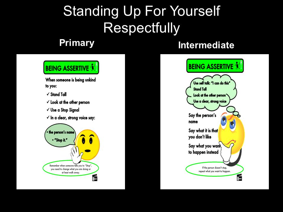 Standing Up For Yourself Respectfully Primary Intermediate
