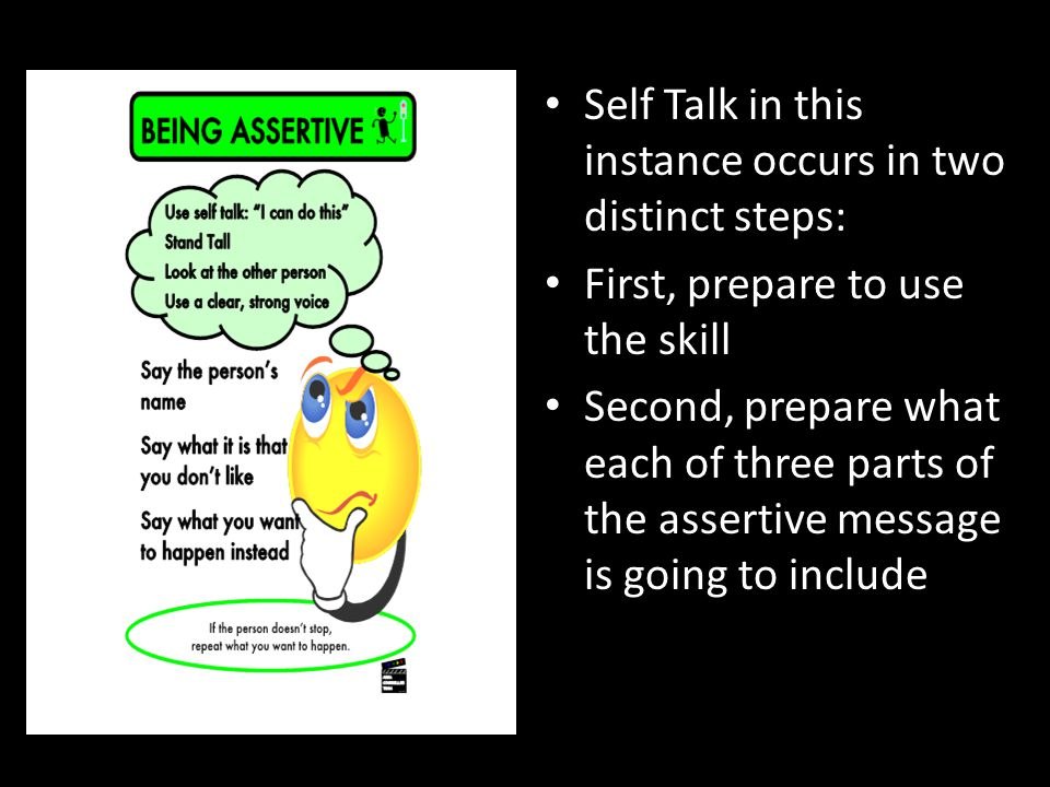 Self Talk in this instance occurs in two distinct steps: First, prepare to use the skill Second, prepare what each of three parts of the assertive mes