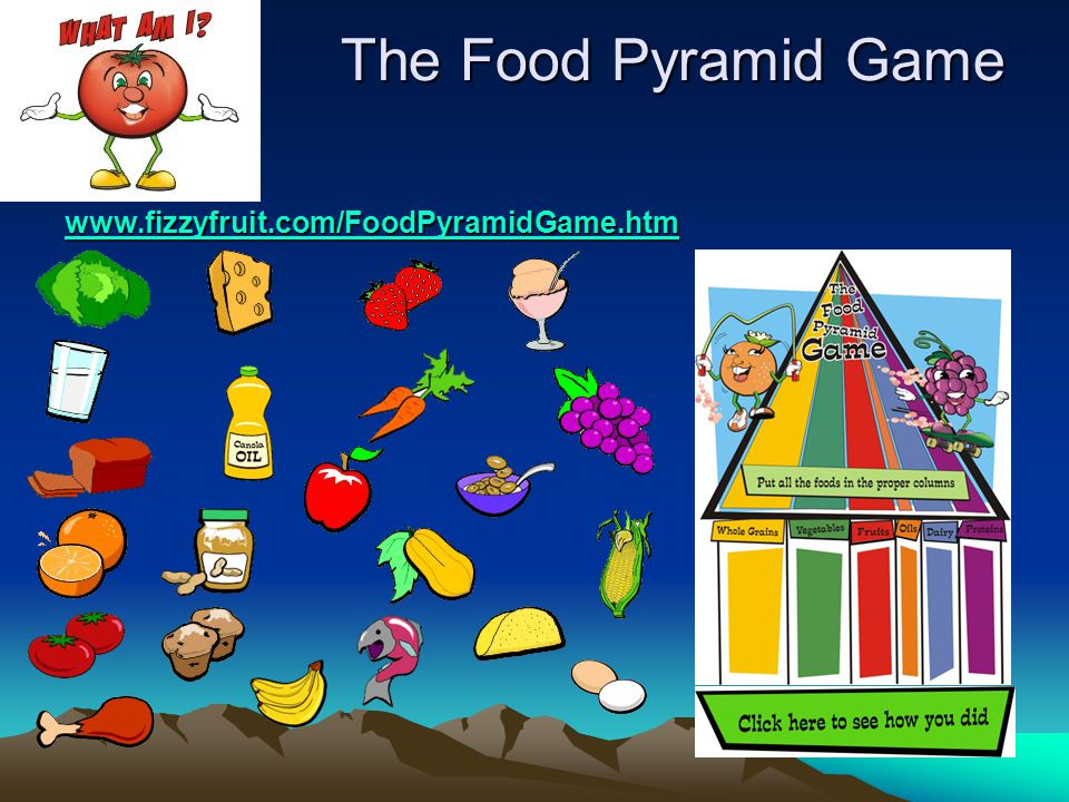 The Food Pyramid Game www.fizzyfruit.com/FoodPyramidGame.htm