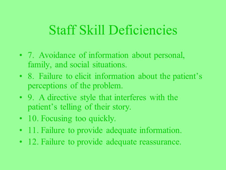Staff Skill Deficiencies 7. Avoidance of information about personal, family, and social situations. 8. Failure to elicit information about the patient