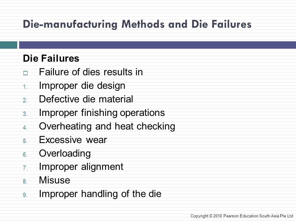 Die-manufacturing Methods and Die Failures Die Failures  Failure of dies results in 1. Improper die design 2. Defective die material 3. Improper fini