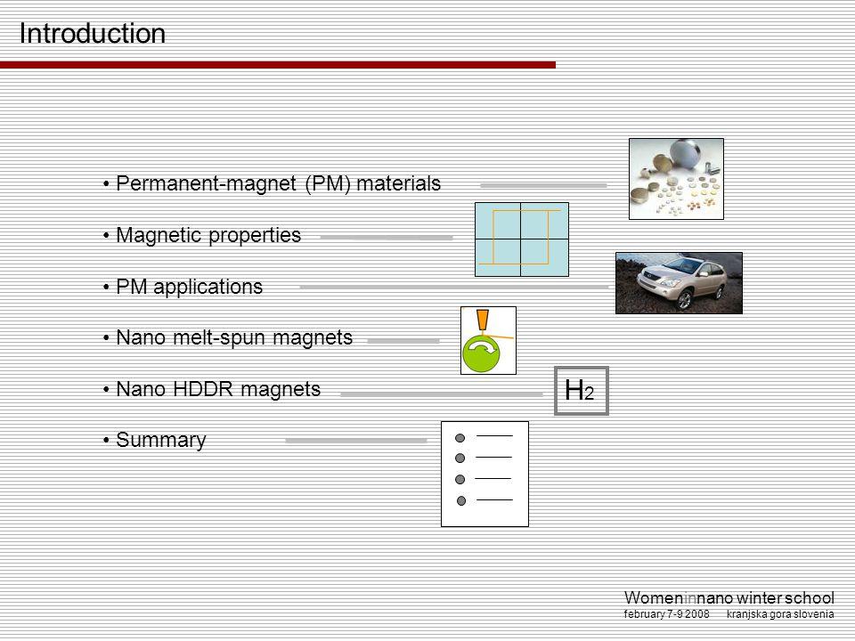 Womeninnano winter school february 7-9 2008 kranjska gora slovenia Permanent-magnet (PM) materials Magnetic properties PM applications Nano melt-spun