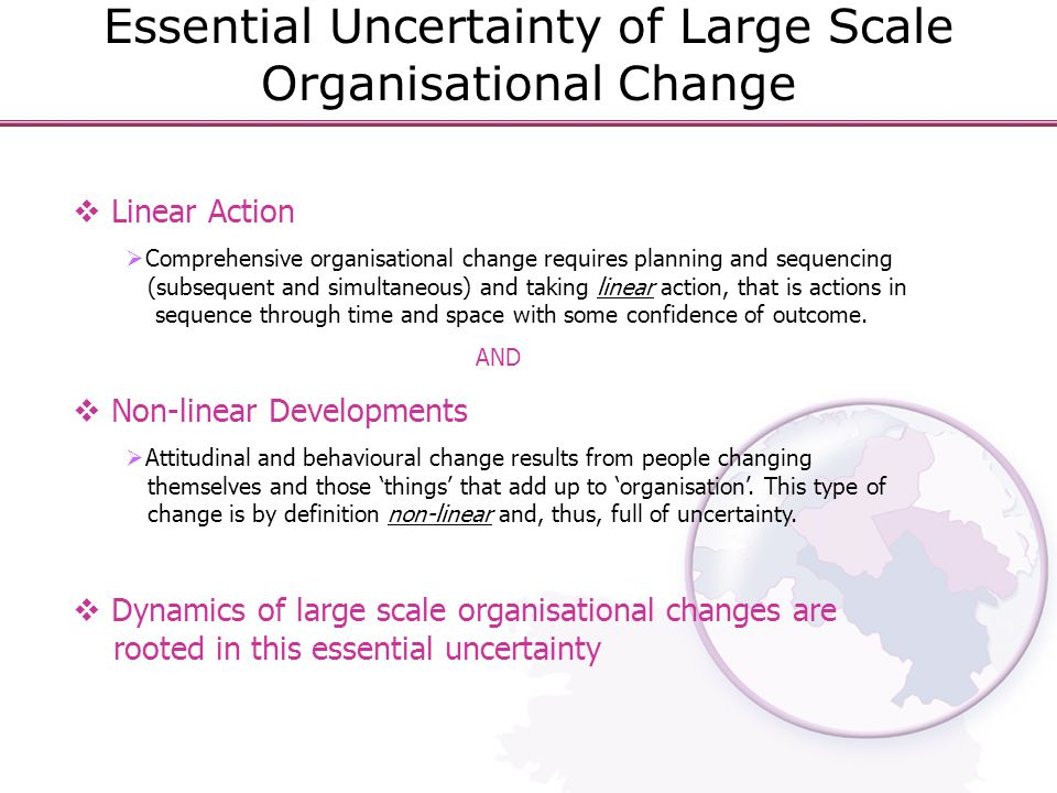  Linear Action  Comprehensive organisational change requires planning and sequencing (subsequent and simultaneous) and taking linear action, that is actions in sequence through time and space with some confidence of outcome.