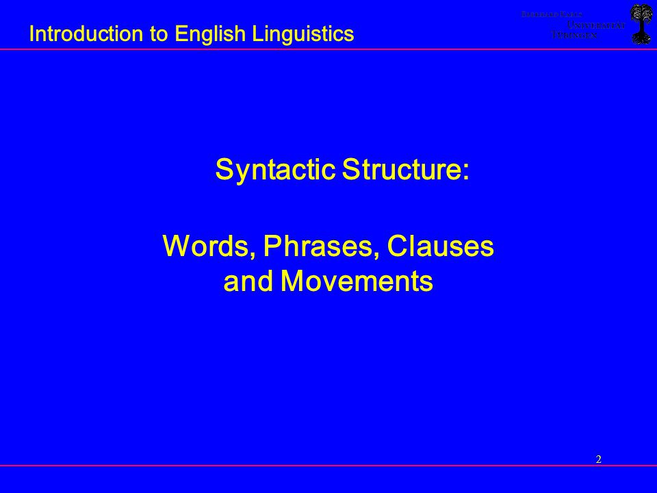 3 Introduction to English Linguistics Model of Grammar in The Minimalist Program [Chomsky 1998, 1999, 2001, 2002] Lexicon Syntax syntactic structure PF component PF representation ≈ SPEECH SYSTEMS semantic component semantic representation ≈ THOUGHT SYSTEMS