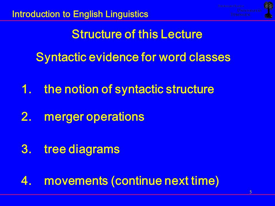 36 Introduction to English Linguistics GOAL: -a theory of Universal Grammar -uncover general structural principles governing the formation of phrases and sentences Merger Hypothesis: All phrases are formed in essentially the same way as the phrase in the example help you namely by a binary (i.e.
