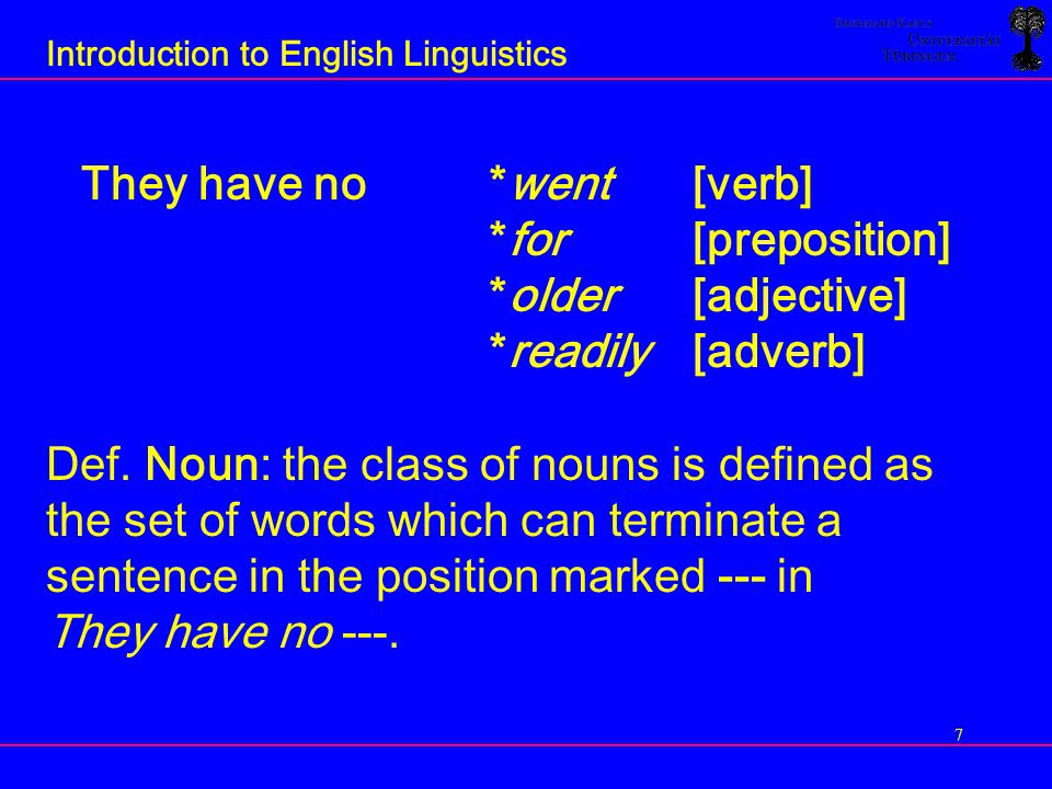 8 Introduction to English Linguistics Claim: Different categories of words have different distributions.