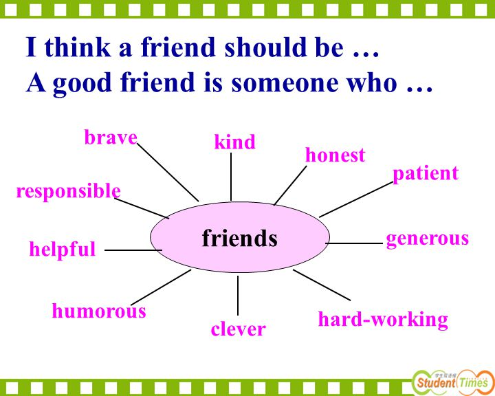 friends kind honest brave helpful generous humorous clever hard-working patient responsible I think a friend should be … A good friend is someone who