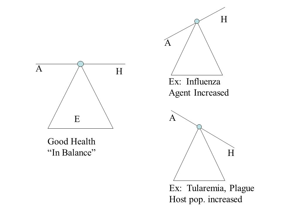 E A H Good Health In Balance A H Ex: Influenza Agent Increased A H Ex: Tularemia, Plague Host pop.