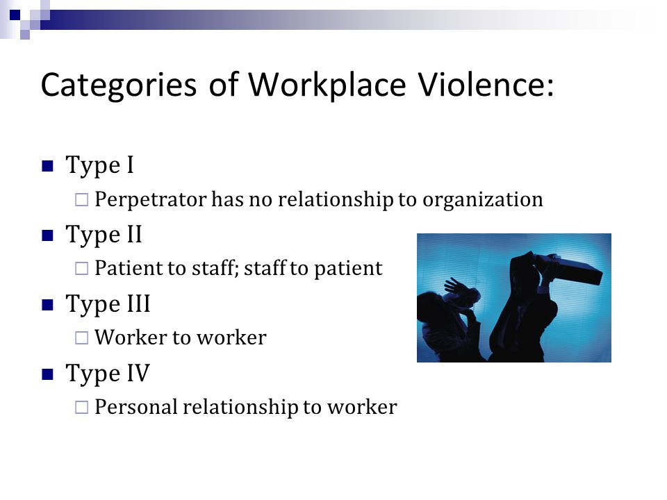Categories of Workplace Violence: Type I  Perpetrator has no relationship to organization Type II  Patient to staff; staff to patient Type III  Worker to worker Type IV  Personal relationship to worker