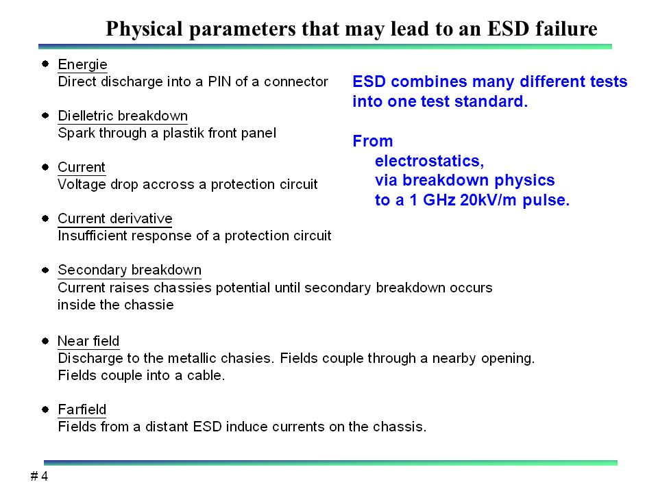 # 4 Physical parameters that may lead to an ESD failure ESD combines many different tests into one test standard.
