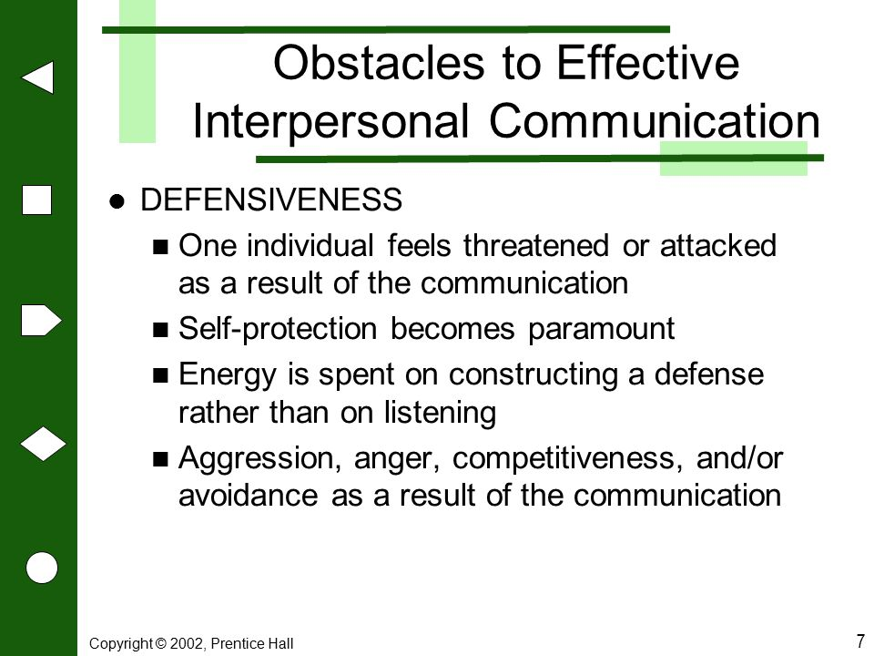 Copyright © 2002, Prentice Hall 8 Obstacles to Effective Interpersonal Communications DISCONFIRMATION One individual feels incompetent, unworthy, or insignificant as a result of the communication Attempts to reestablish self-worth take precedence Energy is spent trying to portray self- importance rather than on listening Showing off, self-centered behavior, withdrawal, and/or loss of motivation are common reactions
