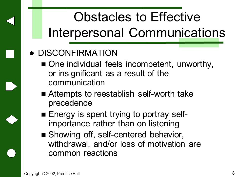 Copyright © 2002, Prentice Hall 8 Obstacles to Effective Interpersonal Communications DISCONFIRMATION One individual feels incompetent, unworthy, or i
