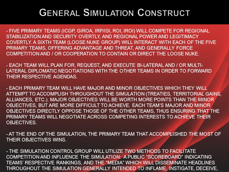 MONDAY, 19 MAY 2014 - 0900 – 1200: SIMULATION INTRODUCTION AND INITIAL COLLECTIVE EXCHAGE.