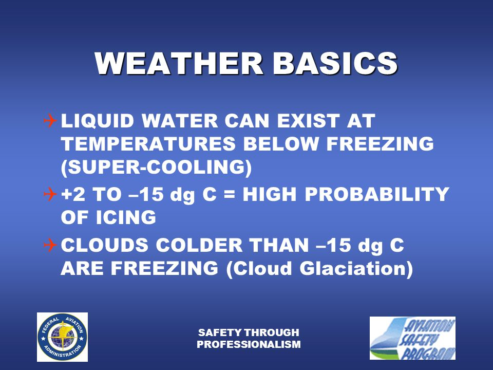 SAFETY THROUGH PROFESSIONALISM WEATHER BASICS  LIQUID WATER CAN EXIST AT TEMPERATURES BELOW FREEZING (SUPER-COOLING)  +2 TO –15 dg C = HIGH PROBABILITY OF ICING  CLOUDS COLDER THAN –15 dg C ARE FREEZING (Cloud Glaciation)