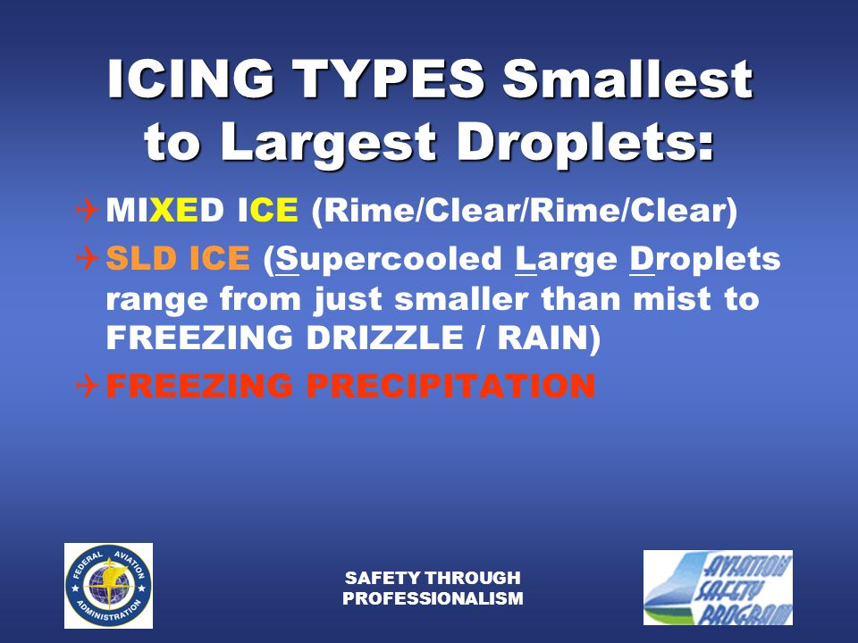 SAFETY THROUGH PROFESSIONALISM ICING TYPES Smallest to Largest Droplets:  MIXED ICE (Rime/Clear/Rime/Clear)  SLD ICE (Supercooled Large Droplets range from just smaller than mist to FREEZING DRIZZLE / RAIN)  FREEZING PRECIPITATION