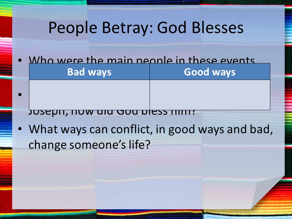 People Betray: God Blesses Who were the main people in these events, and what kind of people were they.