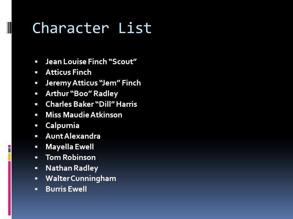 "Character List  Jean Louise Finch ""Scout""  Atticus Finch  Jeremy Atticus ""Jem"" Finch  Arthur ""Boo"" Radley  Charles Baker ""Dill"" Harris  Miss Mau"