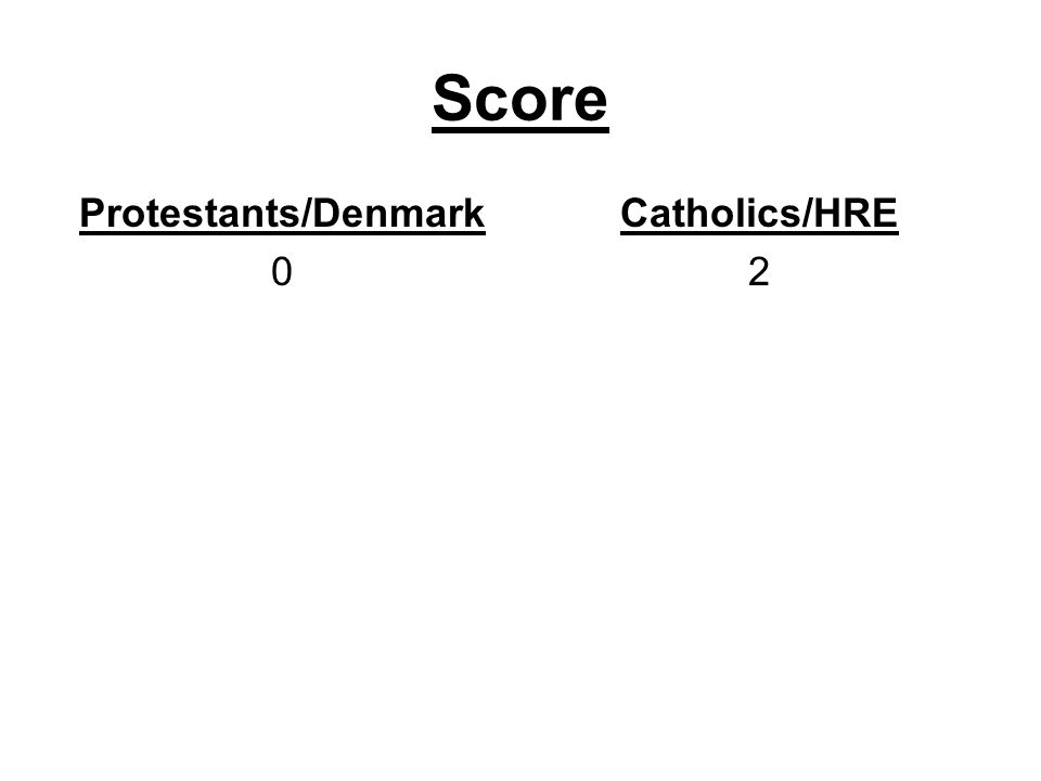 Score Protestants/Denmark 0 Catholics/HRE 2