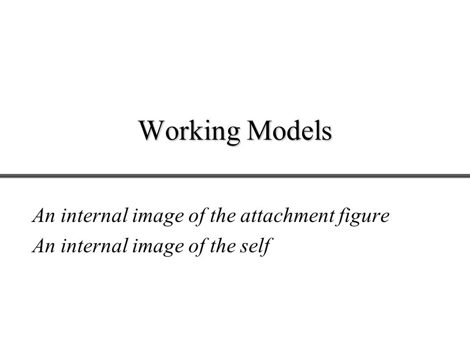 Working Models An internal image of the attachment figure An internal image of the self