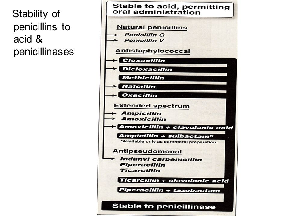 Stability of penicillins to acid & penicillinases