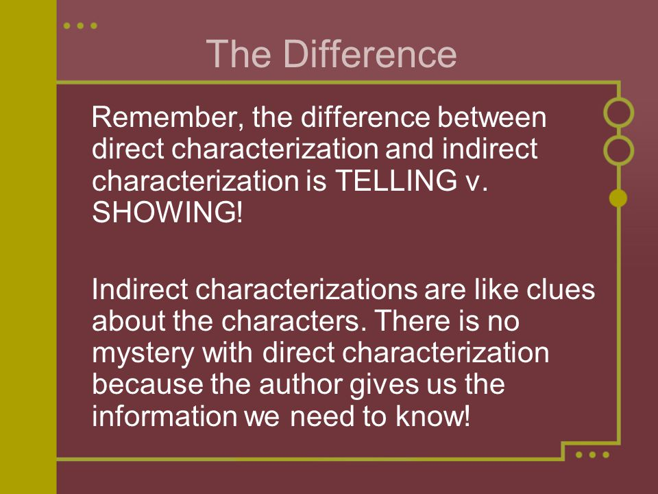 The Difference Remember, the difference between direct characterization and indirect characterization is TELLING v.